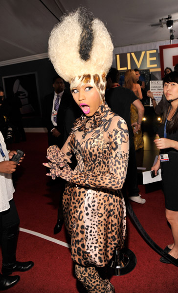 Grammy Awards Red Carpet: Nicki Minaj Styling On Them Hoes In A Leopard