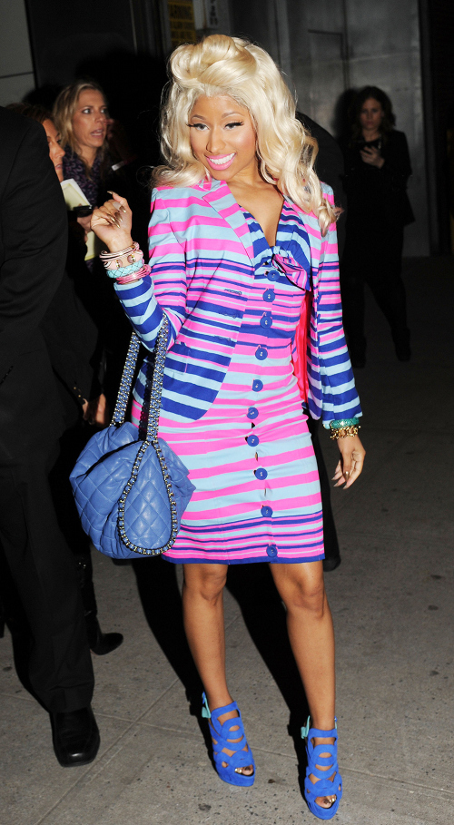 Nicki-Minaj-in-Nanette-Lepore-Spring-2012-and-Giuseppe-Zanotti-Colorblock-Sandals-at-MAC-Viva-Glam