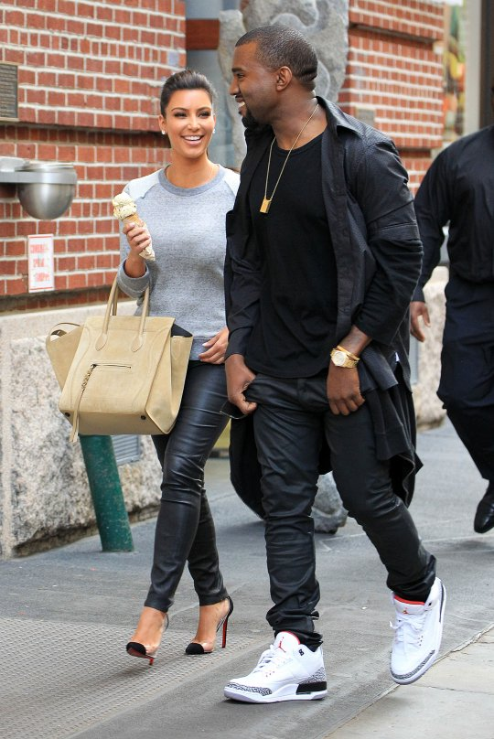 be2429a3399b4 Good friends Kanye West and Kim Kardashian were spotted walking and having  ice cream in New York City