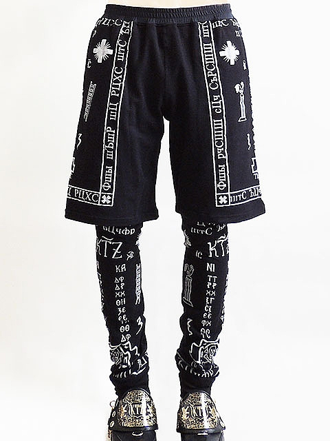 Kokontozai-KTZ-Church-print-shorts-with-trousers-leggings-UpscaleHype