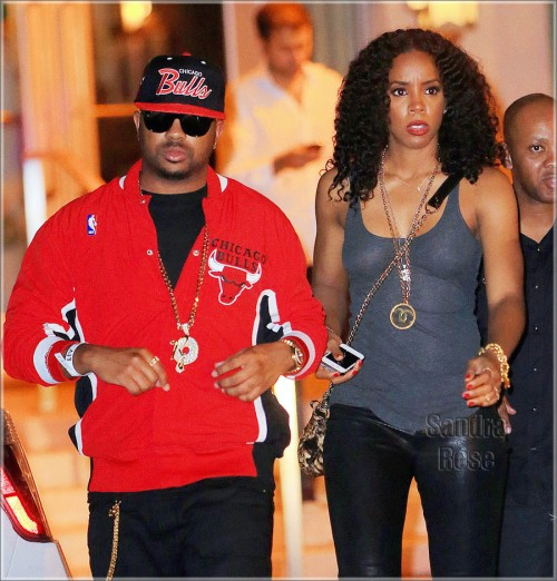 Kelly Rowland and The Dream go to Soho Beach Club for dinner with Beyonce and Jay-Z and Paris Hilton in Miami Beach, FL