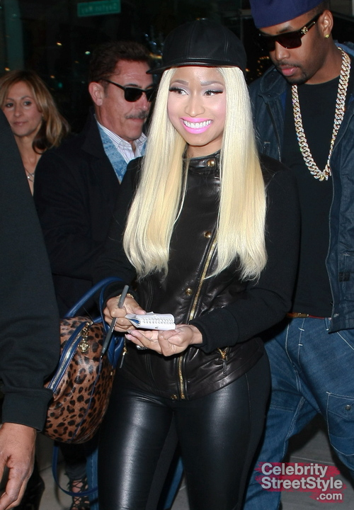 Nicki Minaj dressed head to toe in leather at Gucci in Beverly Hills