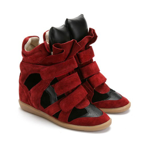 Isabel Marant Bekett High-Top Suede Wedge Sneakers Red Black_1