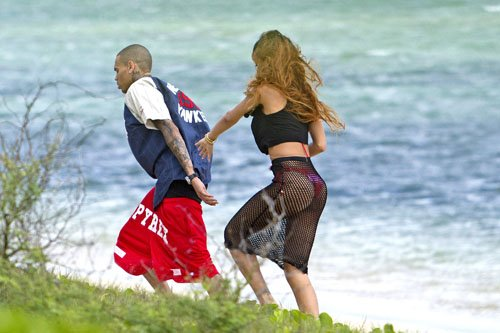 Chris-Brown-wearing-Pyrex-Champion-Gym-Shorts-Rihanna