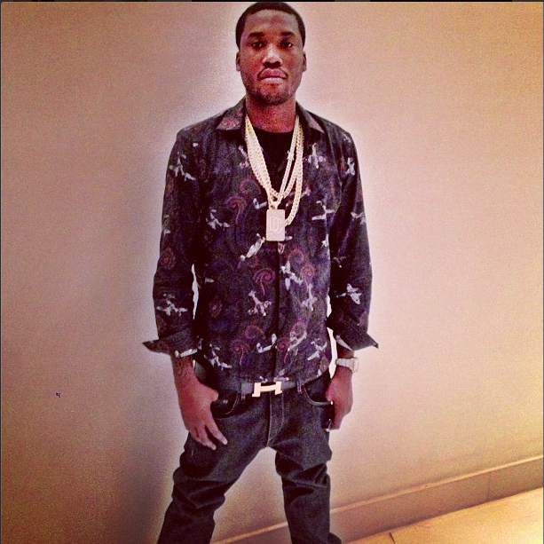 f26f459cb2ca Meek Mill Styles In A  445 Givenchy Fighter Jet Paisley Print Shirt    Hermes Belt