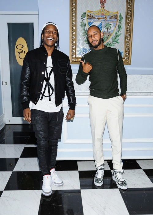 'Swizz Beatz' aka Kasseem David Dean and 'ASAP Rocky' aka Rakim Mayers pose during a photocall in New York City