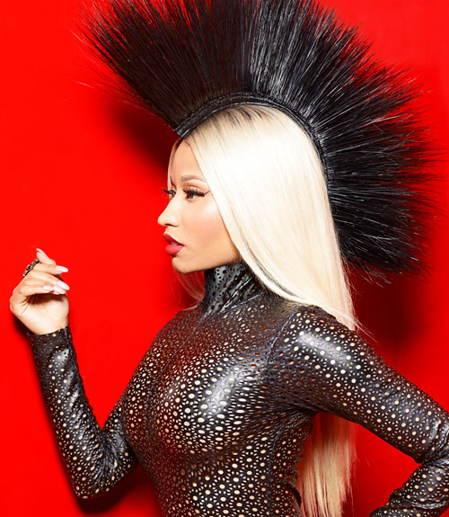 mcx-Nicki-Minaj-August-mag-punk-black-leather-dress-xln