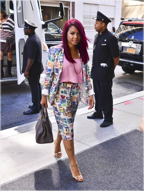 Christina Milian Wears A Colorful Short Suit
