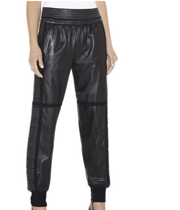 Hervé Léger Remi Textured-Panel Leather Pants
