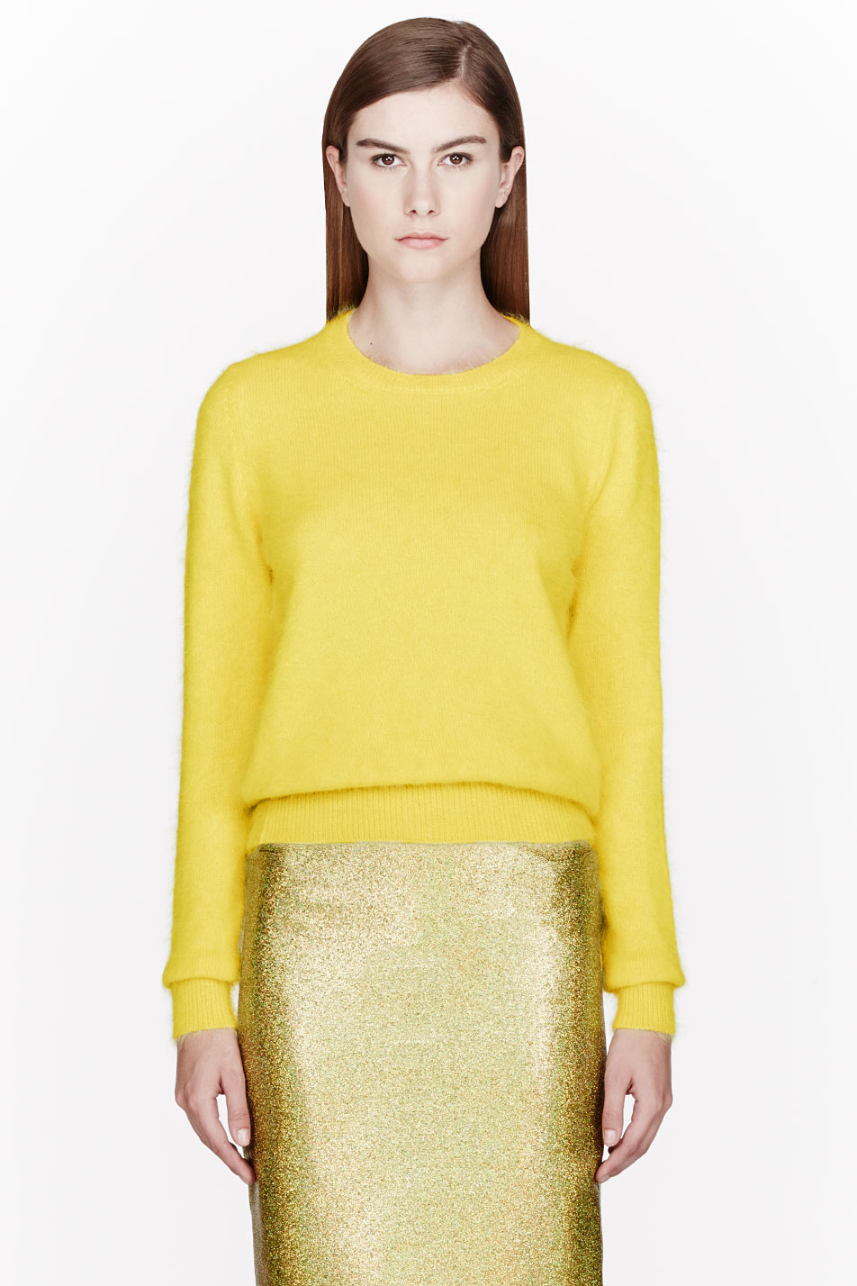 Lala Anthony's $625 Veronique Branquinho Lemon Yellow Angora Sweater |