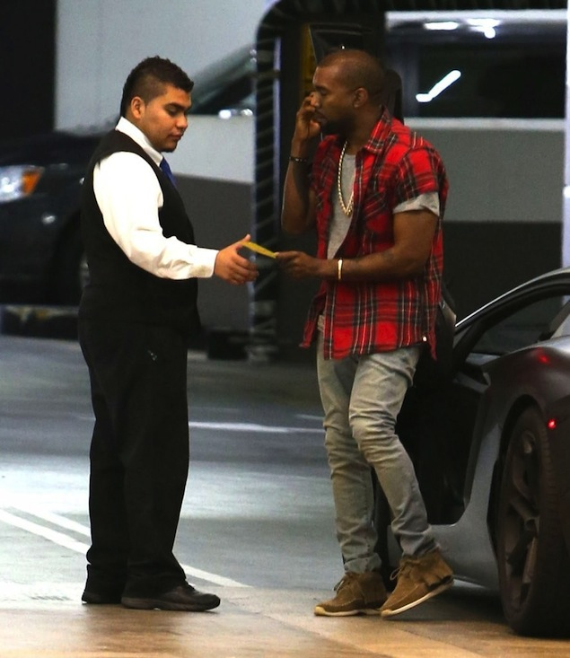 f972edbc06be0 He paired his shirt with denim jeans and a pair of Visvim FBT sneakers.  What are your thoughts on Yeezy's look?