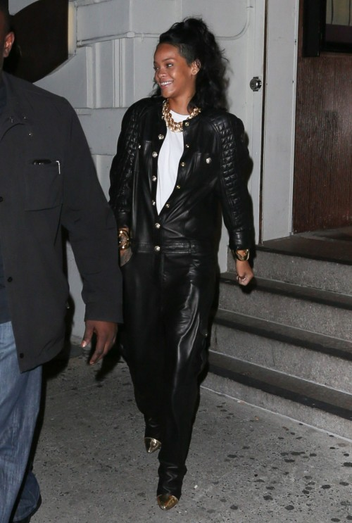 Rihanna Steps Out in Black Leather Jumpsuit